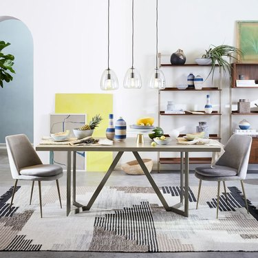 farmhouse table idea with concrete top and metal base