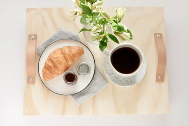 Wood and leather breakfast tray