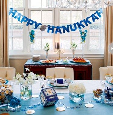 blue and white hanukkah tablescape