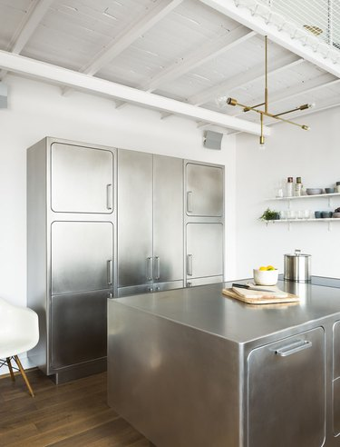 retro rounded stainless steel kitchen cabinets