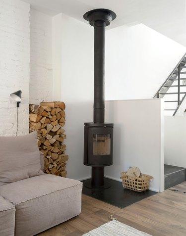 rustic wood burning stove fireplace