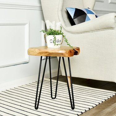 farmhouse end table idea live edge end table with hairpin legs