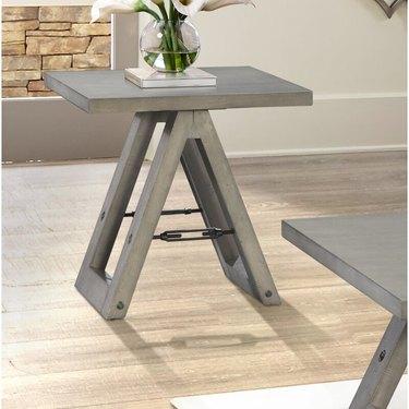 farmhouse end table idea sawhorse end table with distressed finish