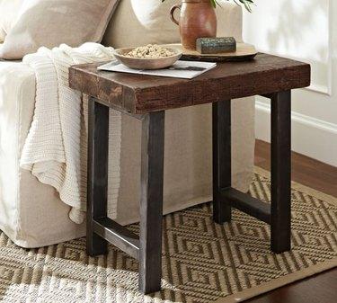 farmhouse end table idea with reclaimed wood slab tabletop