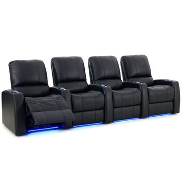 black 4-seat recliner row with LED lights