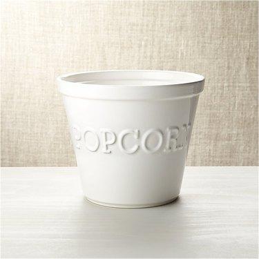 white ceramic popcorn bowl