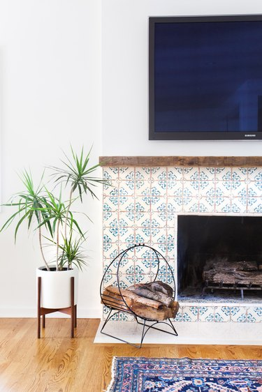 colorful rustic tiles around fireplace