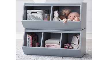 gray stackable storage boxes