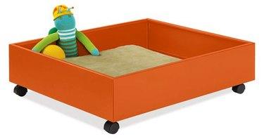 orange steel storage drawer