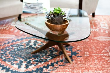 Small indoor plant idea in wood bowl on a midcentury coffee table
