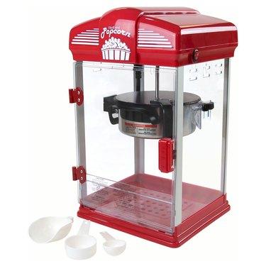 red and white popcorn machine