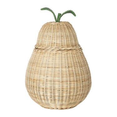 braided rattan pear storage box