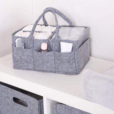 gray felt storage caddy