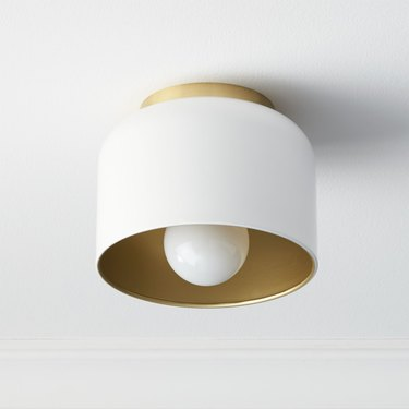 matte white flush mount with gold interior