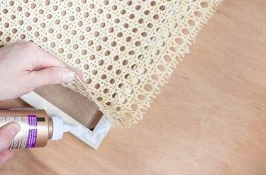 Gluing cane webbing to frame