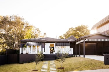 black-and-white ranch home