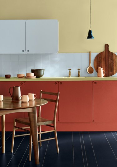 Primary colors come together beautifully in this chic kitchen.