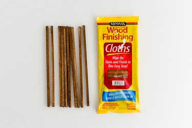 Stain the cut dowel rods.