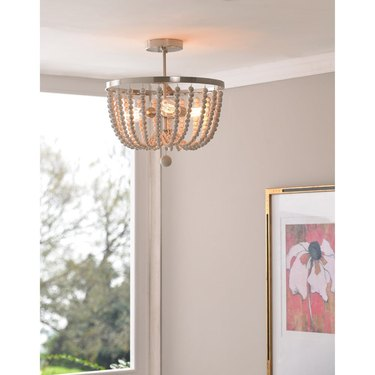 boho style semi-flush mount with wood beads