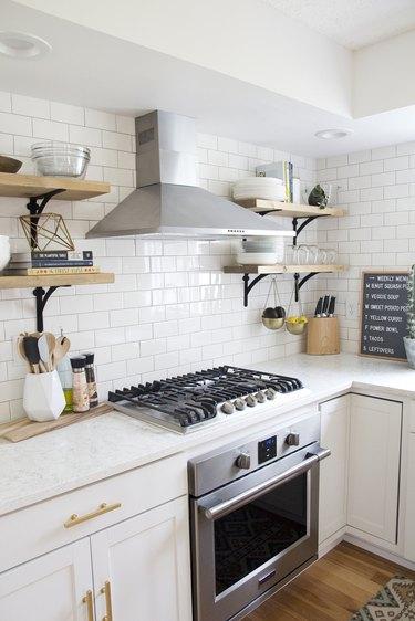 subway tile backsplash budget kitchen idea