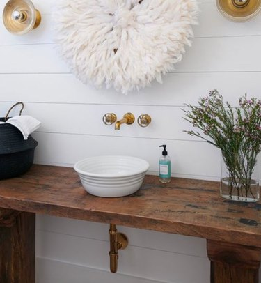 Shiplap and a rustic counter are the perfect pair.