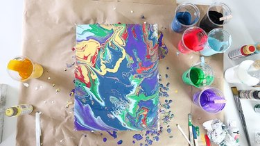 Acrylic pour painting with paints.