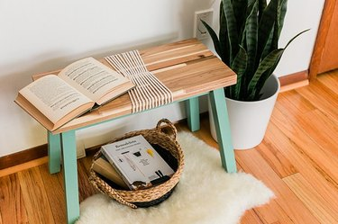 IKEA bench with rope detail and green painted legs.