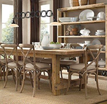 farmhouse table idea with salvaged wood from Restoration Hardware