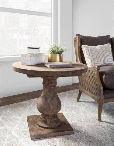 farmhouse end table idea in living room near lounge chair