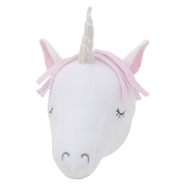 Plush white and pink unicorn head wall decor with iridescent horn