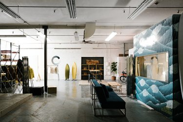 industrial workspace with mural and concrete flooring