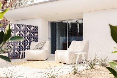 patio with sliding glass doors