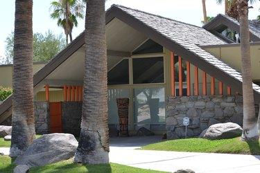 a-frame home with stone facade