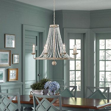 coastal dining room lighting with Ballard Designs Casa Florentina Lucca 8-Light Wood Bead Chandelier