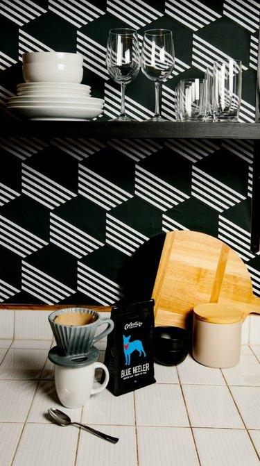 Graphic Tile Kitchen Wallpaper backsplash idea by Chasing Paper