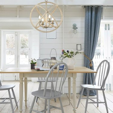 Coastal Dining Room lighting with Candle Style Globe Chandelier with Rope Accents