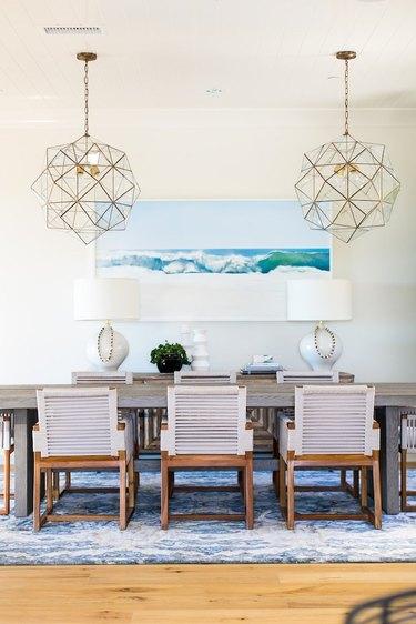 coastal dining room lighting with glass geometric pendants