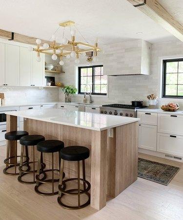 Lighting rack over modern kitchen island.