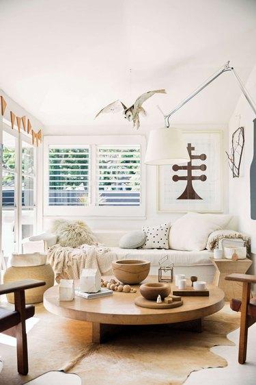 all-white rustic living room idea