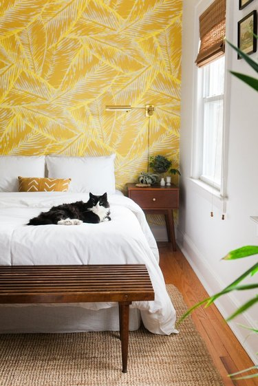 Yellow wallpaper in bedroom with cat on bed.