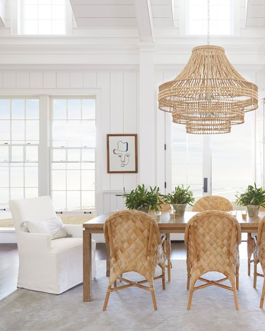 coastal dining room lighting with Serena & Lily ventana chandelier coconut beads and abaca