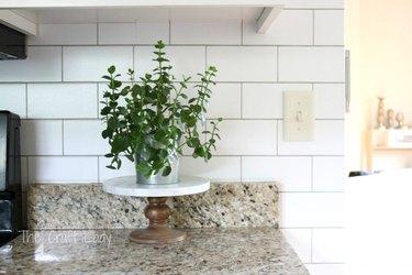 Subway Tile Look-Alike Kitchen Wallpaper backsplash idea with granite countertop