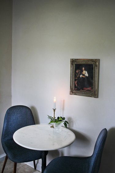 Dining area walls painted with limewash