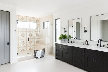 shower window idea with neutral patterned shower tile in walk-in shower