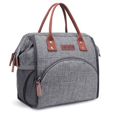 grey lunch bag with brown handles