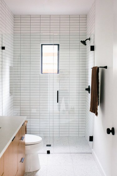 white horizontal subway tile shower idea