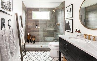 Farmhouse Shower Ideas Juxtaposed Interiors