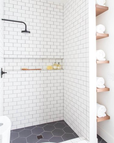 contemporary design with white subway tile shower idea