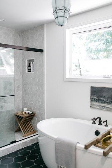 gray shower tile ideas SF girl by bay