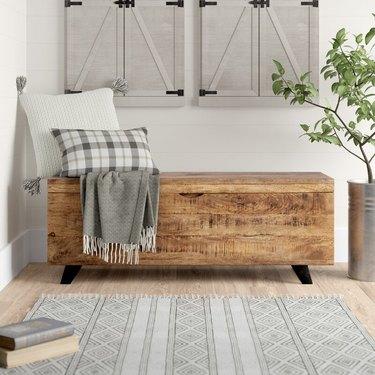 unfinished wood storage bench